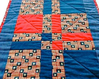 """Patriotic Quilted Table Runner / Quilted Table Topper / Quilted Table Linen - Shades of Red, White & Blue – 13-1/4"""" wide x 41-1/2"""" long"""