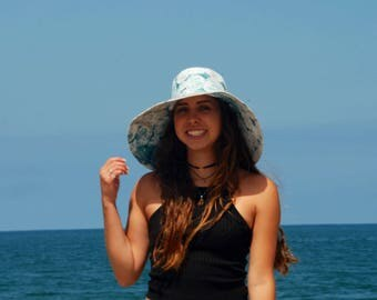 Wide Brim Sun Hat in Linen Wedding hat Summer sun hat Honeymoon Foldable Travel Sunhat by Freckles California