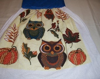Oven Door Hanging Towel-Owls-Kitchen Towel ,Potholder-Ready To Ship