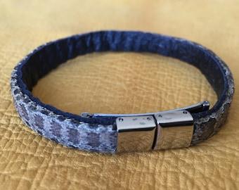 Prairie Rattlesnake Rattle Snake Men's Leather Cuff Braclet