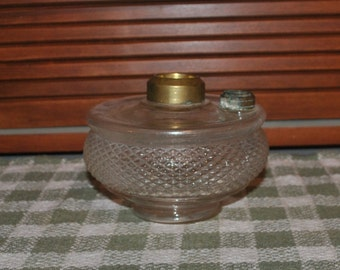 Antique Oil Lamp Font Diamond Hobnail Pattern