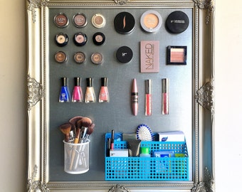 MAKEUP ORGANIZER Make Up Organizer MAGNET Board Bathroom Wall Organizer Nail Polish Holder Makeup Blogger Silver Metal Vintage Magnetic