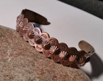 Bell Copper Cuff,  Southwestern Vintage Stamped Copper