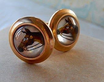 Horse Head Cufflinks, Men's Vintage Cufflinks, Round Shape, Gift for him