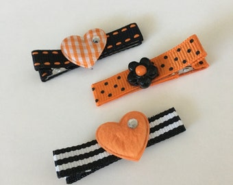 Boutique Clippies ...   Set of 3 Alligator Clips ...   Halloween - Dots and Stripes