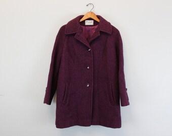 Vintage Purple Wool Peacoat By Ferncroft