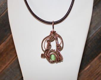 Unique Wire Wrapped Copper Pendant/ Cat's Eye pendant/ Feng Shui Pendant/ Heart Chakra Pendant