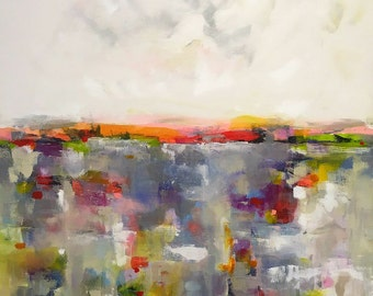 Large Colorful Abstract Landscape Original Painting -Pink Accent Horizon 36 x 48