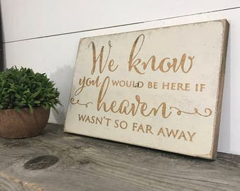 Wedding Memorial Sign- Rustic Wood Wedding Sign -  We Know You Would Be Here if Heaven Wasnt So Far Away -