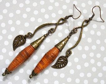 Rustic Burnt Orange and Brass Long Dangle Leaf Boho Earrings (3176)