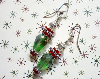Red, Green and Silver Christmas Earrings (3205)