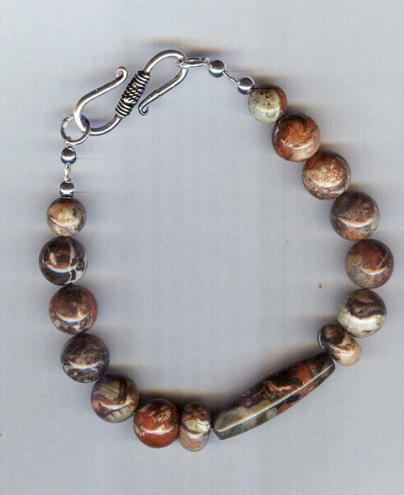 Mens / Unisex Peacock Vista Jasper Gemstone Rounds Beaded Bracelet or Necklace