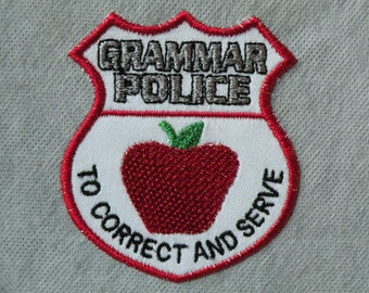"Grammar Police Iron on Patch 2.94"" x 3.4"""
