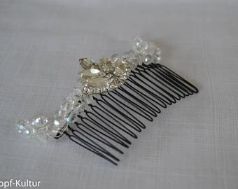 Bridalcomb, Fascinator, Rhinestones, Firepolished Glasbeads, Headpiece, Art deco,