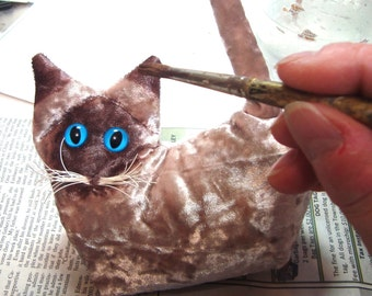 Siamese  Lavender Collectible Kitten, stuffed cat, wild design cat, hand painted, cat paper weight