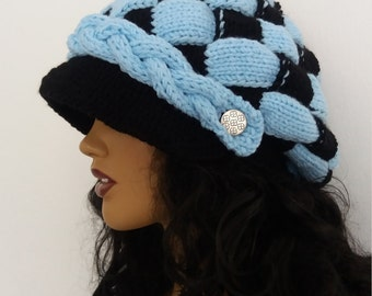 Black and Blue Slouchy Newsboy Cap -Button- Handmade-Knitted newsboy brimmed slouch hat