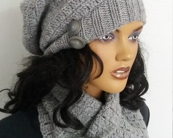 Gray color crochet cowl and hat
