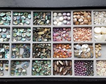 Abalone', Shells, Pearls, and Puka Bead Tray