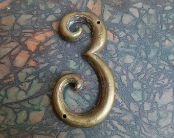 "Vintage Brass Number 3 Home Address Curvy With Great Patina 3"" Tall, Salvage Metal Hardware, Altered Art Supplies, Gallery Wall Art"