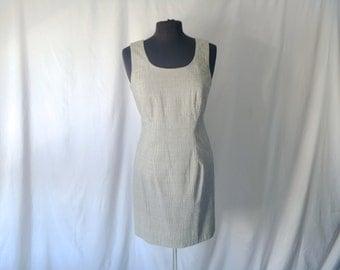 Vintage 80's Hugo Buscati Subtle Gingham Mini Tank Dress Size 8