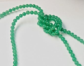 Aventurine Bead Necklace Single Strand Flapper Length Green Beads 1960's 1970s Vintage Jewelry Beaded Necklace