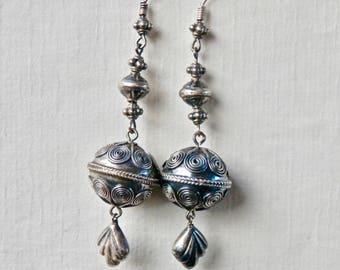 Vintage Dangle Earrings Ethnic Tribal Style 900 Silver Dangle Earrings Pierced Vintage Jewelry Ethnic Jewelry