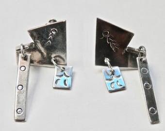 Industrial Earrings Sterling Silver Vintage Native American Southwestern Antique Jewelry 2 Dimensional Dangle Screwback Earrings 925