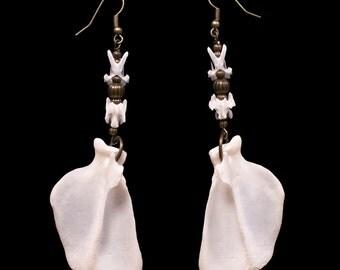 Skunk & Pigeon Bone Earrings - Khuren