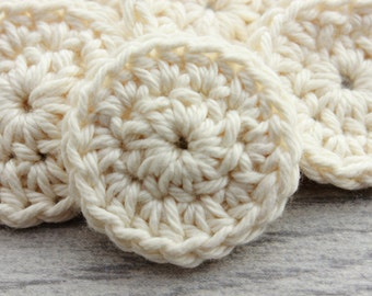 100% Cotton Face Rounds - 10 Small Reusable Rounds in Cream - Face Scrubby Set - Crochet Face Scrubbies - Small Makeup Remover Pads