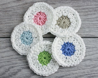 Crochet Face Scrubby Set - Reusable Cotton Rounds - Polka Dot Face Scrubs - in colors of Blue, Pink, Green, Gray and Purple with white edges