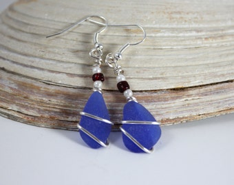 Rare Cobalt Blue Sea Glass Earrings Unique OOAK Red Silver