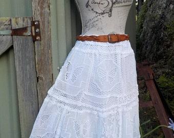 butterfly mex lace / crochet white skirt - bohemian, romantic alternative, hippy, s / m / l