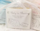 Elephant Baby Shower Favors Tea Bag Favors Baby is Brewing Set of 10