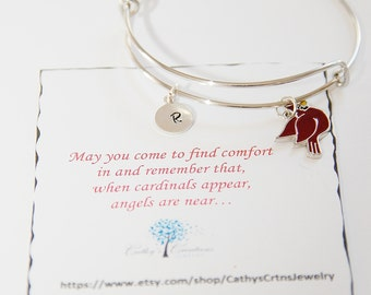 Sympathy Gift, Cardinal Bracelet, Personalized Jewelry, Memorial Gift, Memorial Jewelry, In Memory of, Remembrance Gift