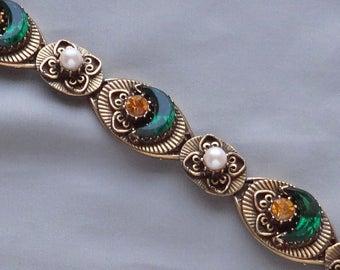 SALE - Vintage Green Crescent Rhinestone, Topaz Rhinestone & Pearl Antique Style Goldtone Bracelet