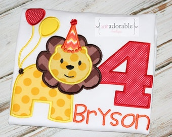 Boys Lion Appliqued Birthday Shirt, Circus Birthday Shirt, FREE MONOGRAMMING, Zoo Birthday Shirt, Wild and One, Jungle, Safari
