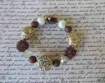 Gold And Brown Toned Stretchy Chunky Bracelet With Assorted Beads