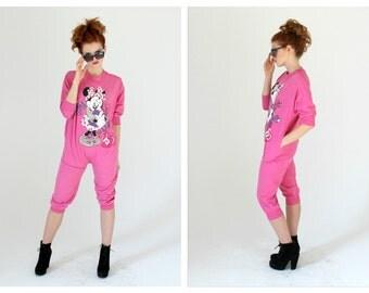 80s Minnie Mouse Onesie- Jumpsuit, XS, PETITE, Retro PJs, Pajamas, Disney Pink Hipster