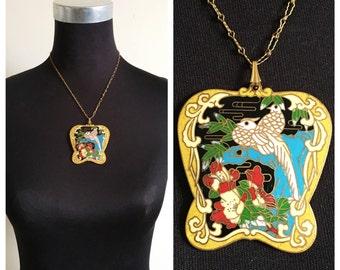 1940s Cloisonne Bird Pendant Necklace- Huge Chunky Colorful Pendant Enamel