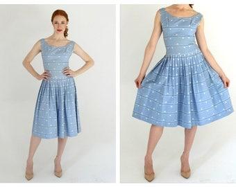 1950s New Look Blue Dress- XS/S, Pastel, Drop Waist, Polka Dot, Retro Pinup Mad Men Dress