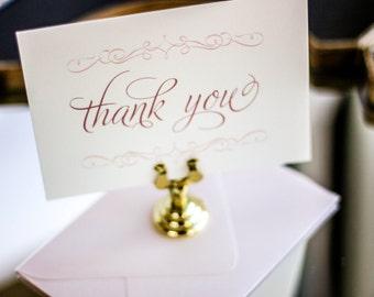 "Blush Thank You Card, Shabby Chic Stationery, Wedding Thank You Cards, Baby - ""Enchanting Vintage Flourish"" Flat Thank You Cards - DEPOSIT"