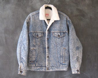80s Acid Wash Denim Jean Jacket Sherpa Lined Faux Sheep Lining Made in USA Mens M, Ladies L