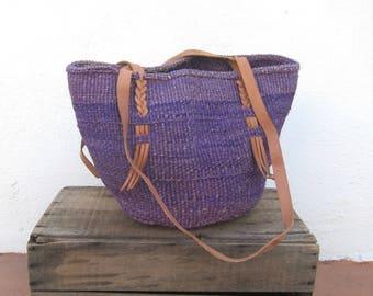80s African Tote Woven Purple Stripe Raffia Ethnic Bucket Sisal Bag w/ Leather Trim