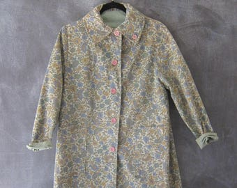 60s Reversible Paisley Floral Trench Coat Cotton Sage Green Spring Summer Long Jacket Ladies Size M