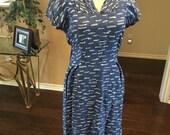 1940s Novelty Print Dress / WWII Blue White Dress / Vintage 40s Abstract Dress / Size S M / Marlene Original