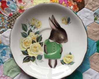 Shy Bunny on Amazing Green and Yellow Rose Floral Vintage Illustrated Plate