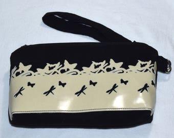 Glow-in-the-dark butterfly zip pouch wristlet