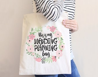 Wedding Planning Tote Bag for Bride or Newlywed Bridal Shower Wedding Gift, Canvas Tote Bag, Gift for Wedding Planning Gift (Item - BWP100)