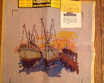 "Vintage Brunswick Yarns Needlepoint Canvas 18"" x 18"""