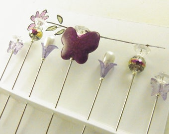 Fancy Sewing Pins Purple Butterflies and Flowers